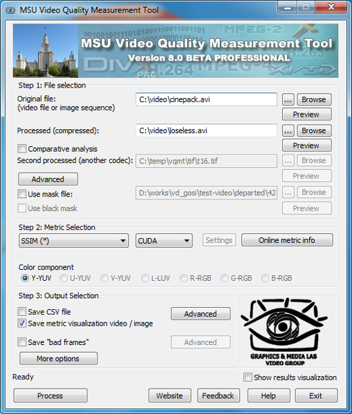 MSU Video Quality Measurement Tool Screen shot
